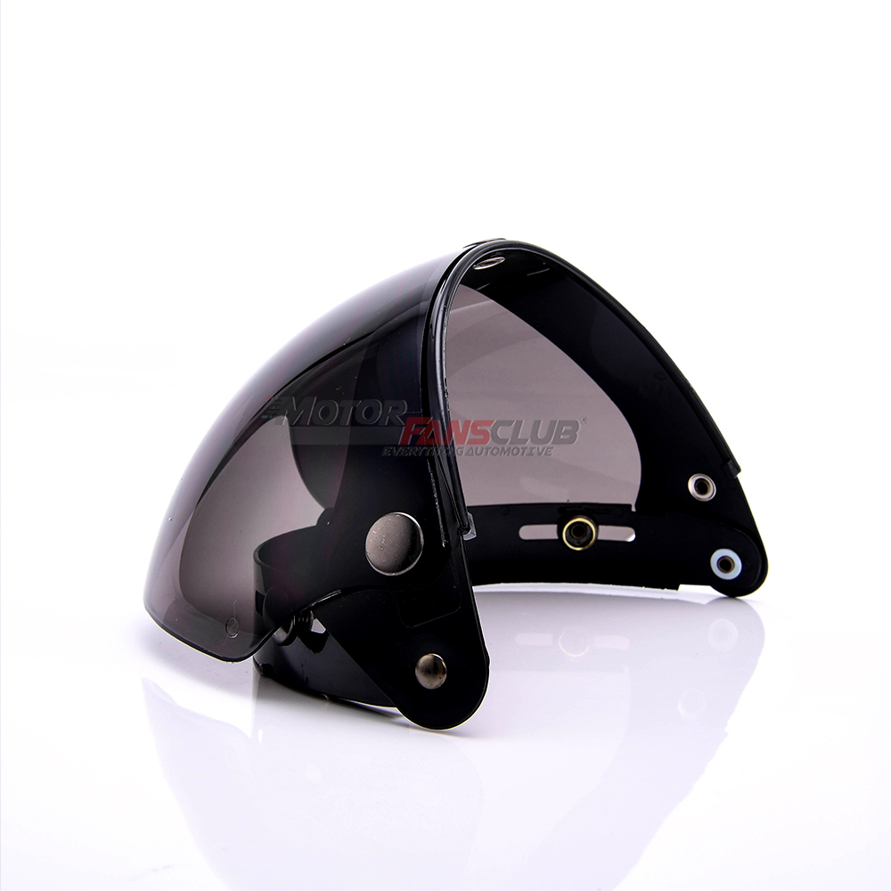 Pilot-Style Universal 3 Snap-Button Visor for Open Face Motorcycle Helmet Wind Shield Flip Up Down by MotorFansClub Light Smoke