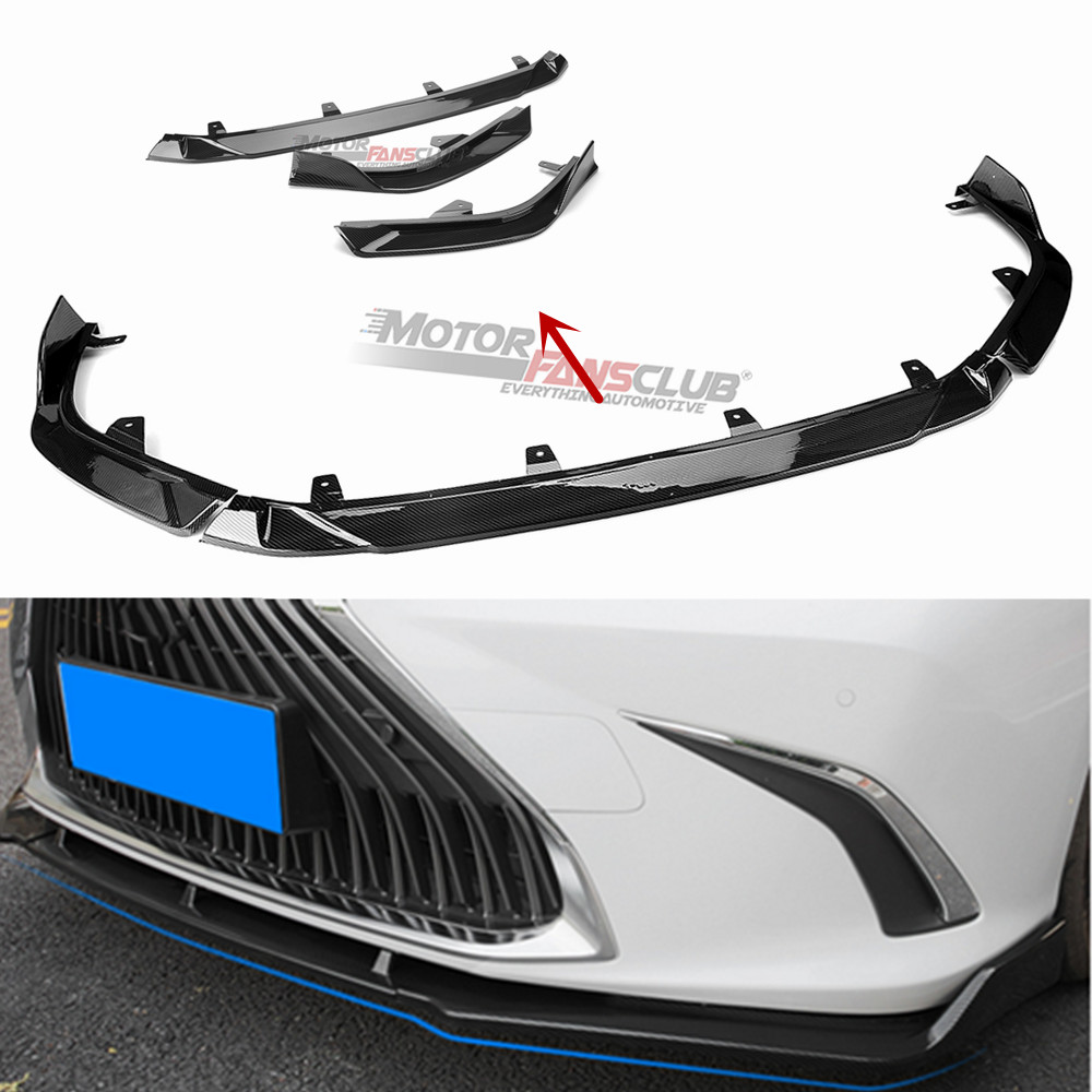 For 2019 Lexus ES 350 300h Carbon Fiber Front Bumper Front Lip Cover Trim 3PCS